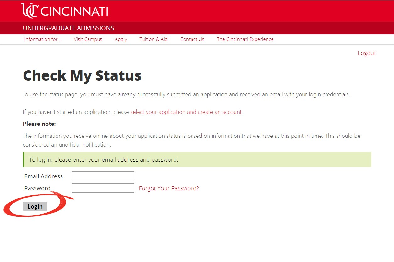 Screenshot with arrow pointing to log in section of status portal
