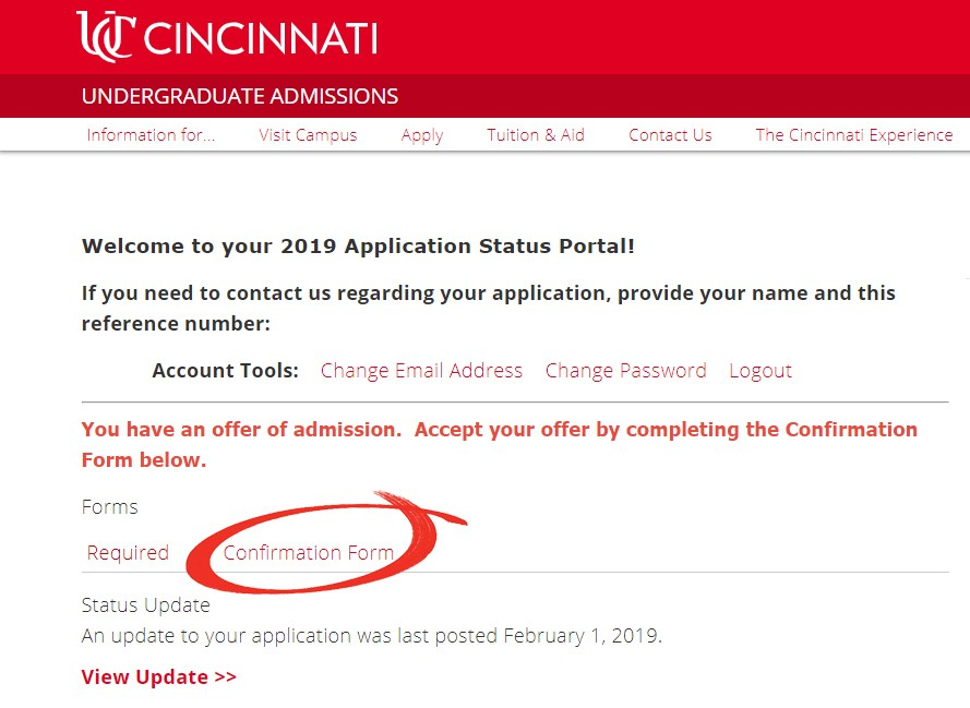 Confirm Your Admission | University Of Cincinnati on