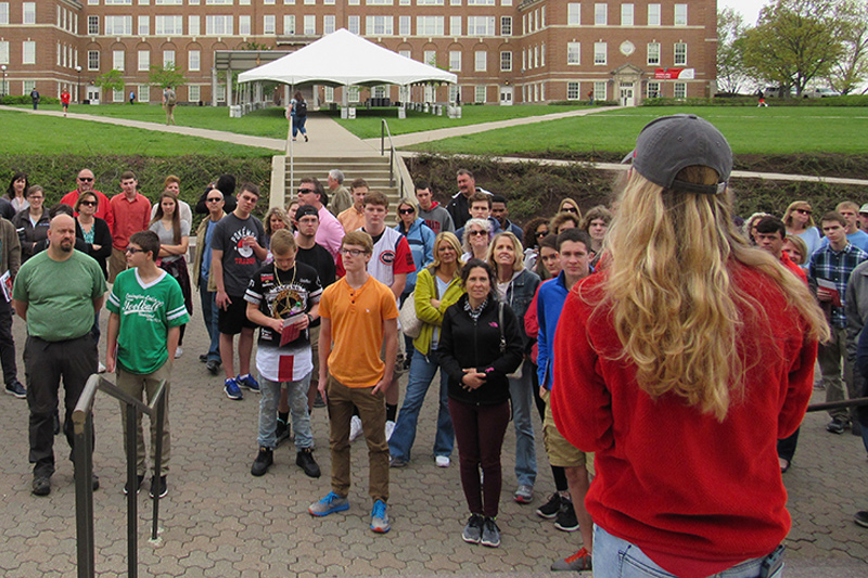 A group of prospective students tour UC's Campus